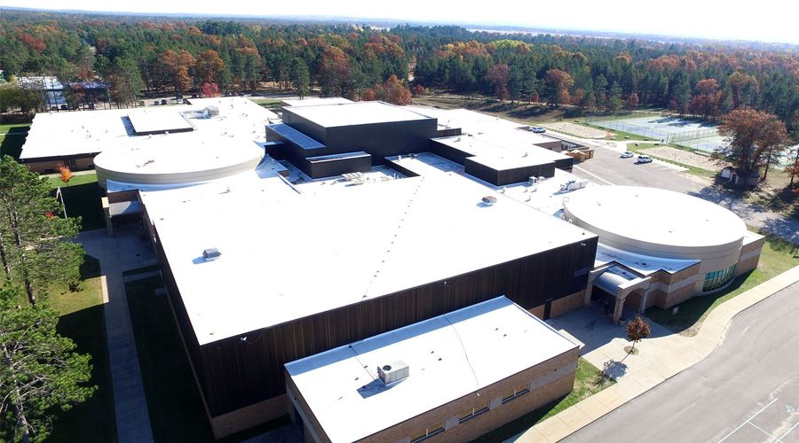 Commercial Roofing Cleveland | Services - School Roof Aerial Shot